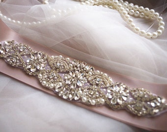 crystal beading sash Applique, crystal beading applique, wedding applique, beaded rhinestone applique, bridal headpiece applique