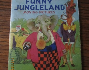 1932 Kellogs Funny Jungleland Moving Pictures Book Fold Out