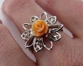 Filigree Ring - Peach Rose, Platinum-plated