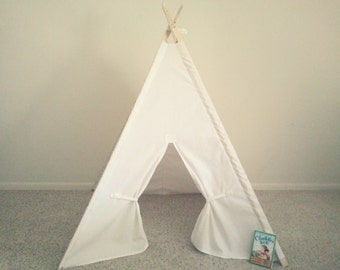 White Canvas Teepee Tent Natural, Khaki, or White  Tipi Wigwam or Kids Fort Theteepeeguy tee pee