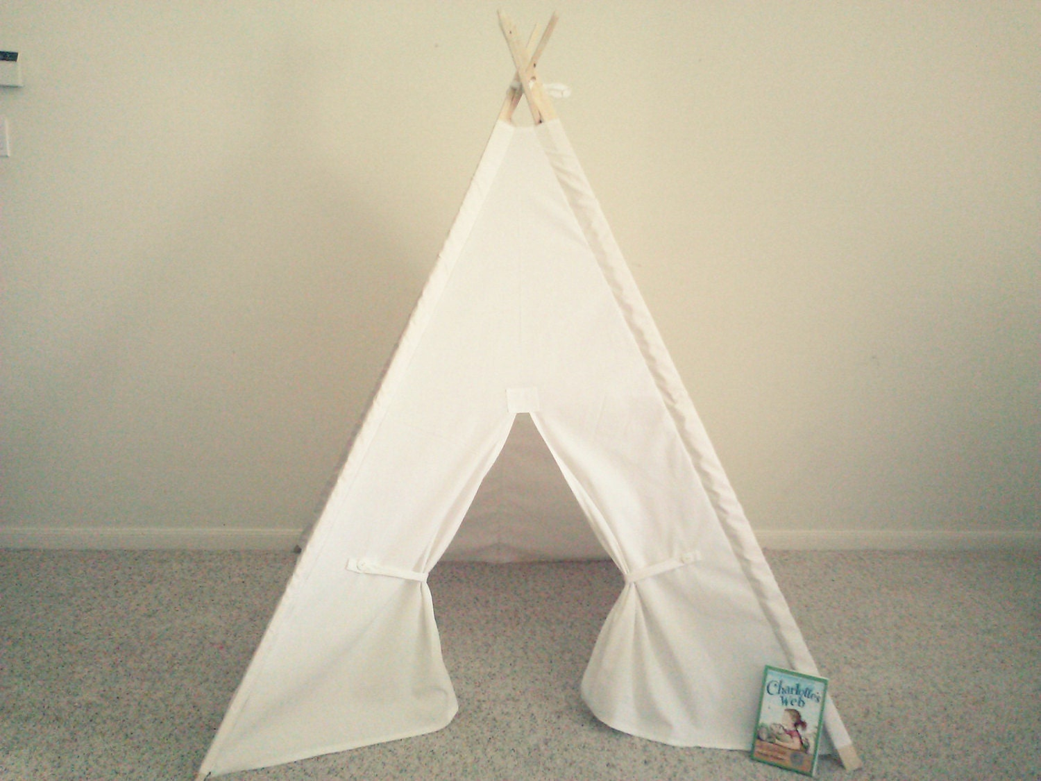 White Teepee Canvas Tent White Tipi Wigwam Or Kids Fort The