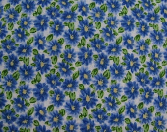 Royal Blue Daisies on a White Background-Cotton Fabric