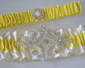 Wedding Garter Canary Yellow Garters And Ivory Satin With Rhinestone Embellishments Garter Belts Bridal Garter Set Yellow Garters