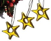 3 X Pale gold Fused Glass Star, Christmas Tree decoration, tree ornament, Gold Star DC698, sun catcher, hostess gift, house present, for her