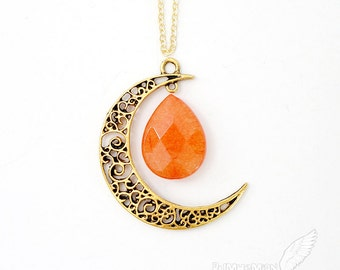 """Vintage Boho Half Crescent Moon Pendant, Gypsy Celestial, Simple Cable Chain, Vintage Spring Summer Moon pendant 1.65"""", LONG 25"""" Necklace"""