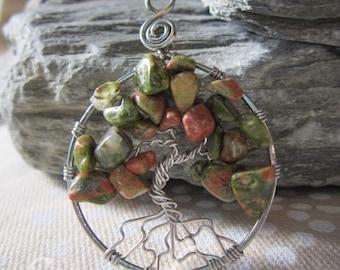 Unakite tree of life pendant