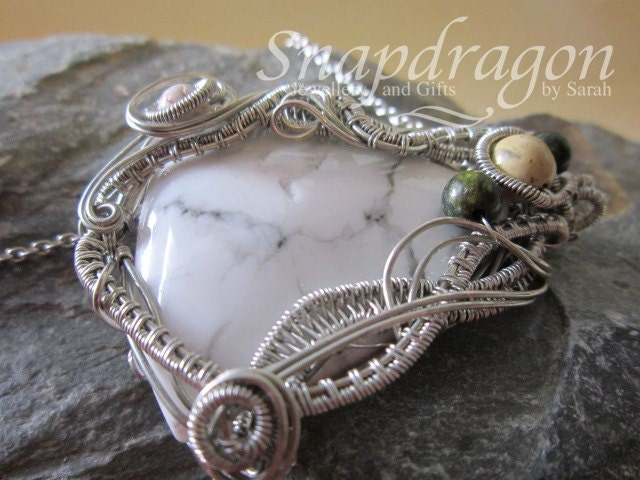 Large marble wire wrapped cabochon pendant with gemstone accents large marble wire wrapped cabochon pendant with gemstone accents aloadofball Choice Image