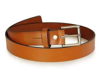 "Mens Handmade Light Brown Leather Belt -- 1.25"" Width"