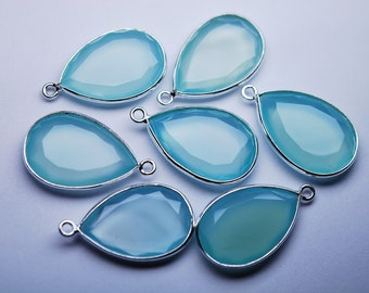 925 Sterling Silver,Aqua Chalcedony Faceted Pear Shape Pendant,10 Piece of 22-23mm