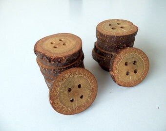 NEW - Wood Buttons -  20 Slim Buttons - BlackJack Tree Branch Buttons - 1 2/5  inches in diameter - For Crafters - Knitting - Sewing - Diy.