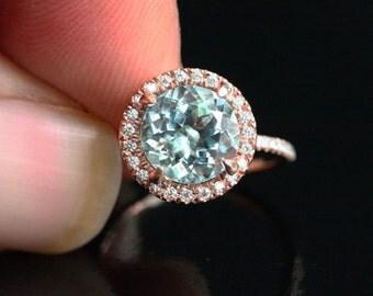 Stunning Aquamarine Ring Engagement Ring in 14k Rose Gold with Aquamarine Round 9mm and Diamonds