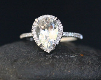 Pear White Topaz Engagement Ring White Topaz Ring and Diamond Halo Ring in 14k White Gold with White Topaz Pear 10x7mm