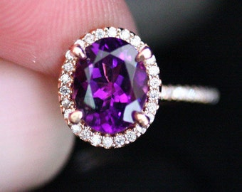 Rose Gold Amethyst Engagement Ring with Natural Amethyst Oval 9x7mm and Diamond Halo in 14k Rose Gold