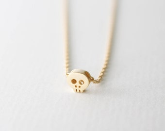 SUMMER SALE: 20% OFF Tiny gold skull necklace