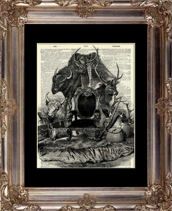 Big game trophy room dictionary art print by barnfeathers for Big game room