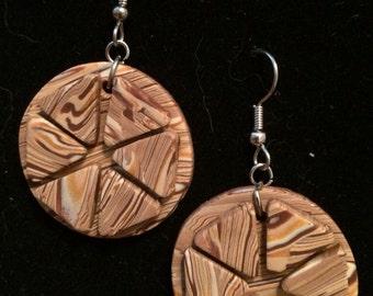 Handmade Faux Wood  OOAK Polymer Clay Earrings