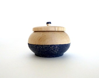 Navy blue and silver glitter wooden box, tiny wood box, celestial decor, night sky, gift for her, stocking stuffer