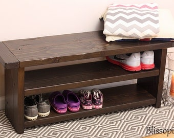 Storage Bench With 2 Shelves, Wood Bench, Shoe Storage