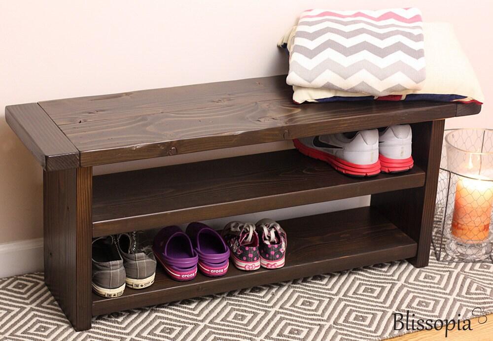 storage bench with 2 shelves wood bench shoe storage. Black Bedroom Furniture Sets. Home Design Ideas