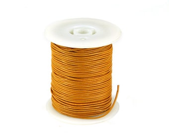 Leather Cord 1mm, Yellow Orange Genuine Leather Cord, Round Leather Cord, Pkg of 30 ft., D0PP.YO28.L30F