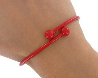 Red Tube Bracelet Bangle Cuff Enamel Metal  Spiral Vintage 1970s