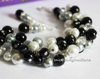 Grey, Black & White Bracelet, Pearl Cluster Bracelet, Pearl Bracelet, Black Bracelet, Wedding, Jewelry, Bracelet, Bridesmaids Gift