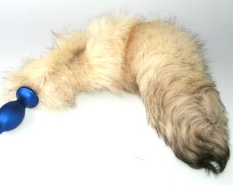 Large Natural White Real Fur Fox Tail with Detachable Metal Butt Plug BDSM Fox Tail Kitty Tail (MR) mature