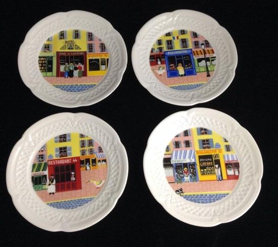 Set of 4 lourioux french porcelain deshoulieres merchants row for Linea carta canape plates