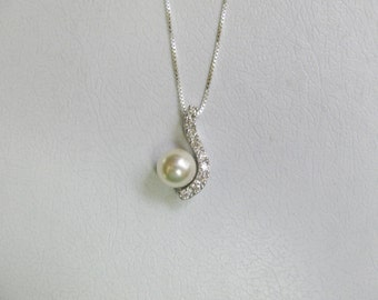 Bridesmaid Solid 925 Cubic Zirconia Necklace with Feux Pearl/Bridal/Bridesmaids/Graduation/Birthday/Gift for her