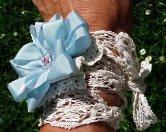Wedding Boho Flapper Headband Choker Belt Cuff Bracelet Lace Rose Bridesmaid