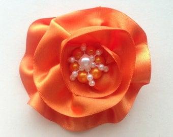 Orange Satin Ribbon Flower