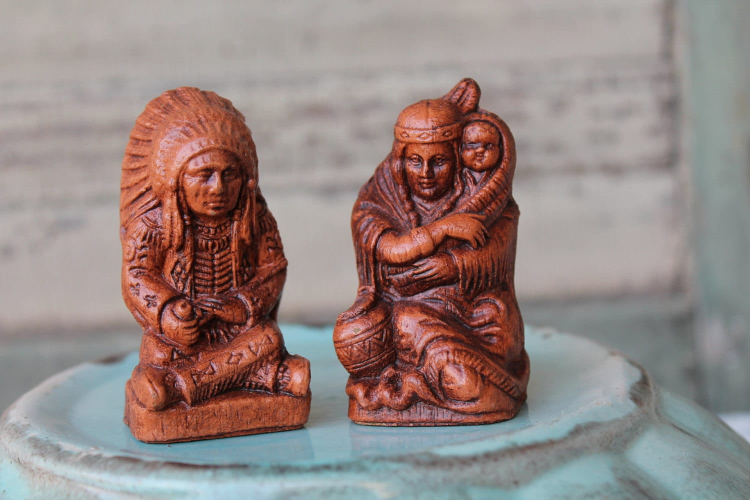 Rare Vintage Native American Indian Salt And Pepper Shakers