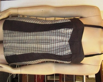 Vintage Black Pin Up Bathing Suit with Black, White and Red Plaid Panels,  ca 1950s