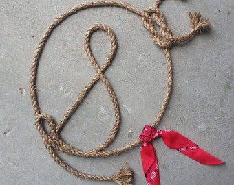 Western Rope Name Art: Initial Lasso WITH a bandanna, Rustic Decor, Western Decor, Personalized Gift