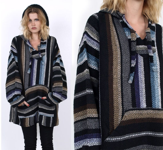90's Striped Hooded BAJA Poncho Oversized Blanket Mexican