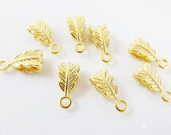 8 Mini Leaf Pendant Bails - 22k Matte Gold Plated