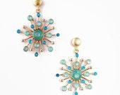 Turquoise Dangles, Gold Earrings for Women, Christmas Gift Help, Enamel Earrings, Light Blue Earrings, Artisan Jewelry, Xmas Presents Ideas