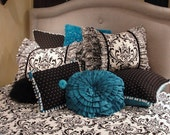 18 x 18 Ruffled Rose Turquoise Pillow