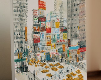 TIMES SQUARE New York City, NYC Canvas Art Print from Mixed media Painting by Clare Caulfield, Broadway Manhattan New York Taxi, Skyscrapers