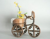 Vintage 1970s Asian Bent Rattan Tricycle Planter With Basket Insert