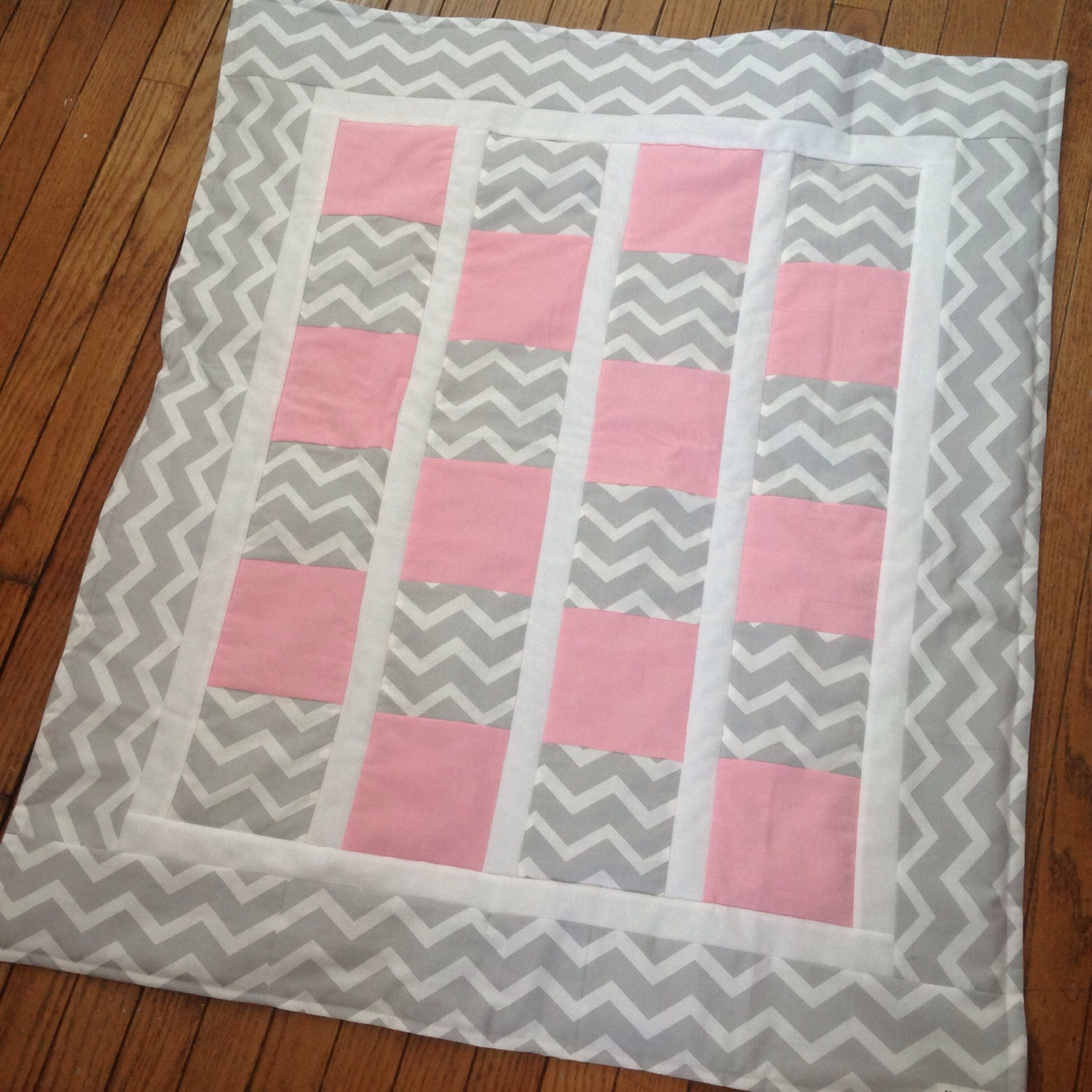 baby girl quilt in pink  u0026 gray chevron