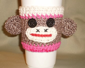 Sock Monkey Coffee Cozy - Hot Pink - Hand Crafted