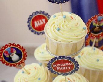 Customized Party / Wedding / Birthday Cupcake Toppers (Madagascar 3 Theme) x 24 pcs
