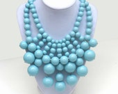Turquoise Blue Bib Bubble Statement Necklace - Big Bold Chunky Statement Necklace