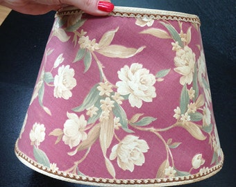 Maroon Floral Fabric  Lampshade, Vintage 1940s Home Decor, Retro lampshade