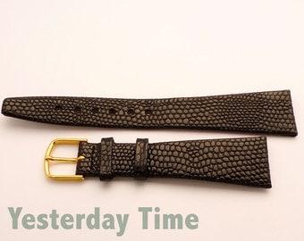 Vintage New Old Stock Black Lizard calf 20mm Watch Strap