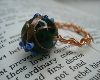 Copper Wire Ring with Green Glass Bead