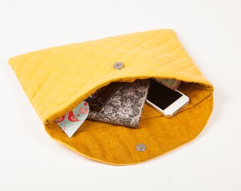 Diamond quilted cotton clutch bag