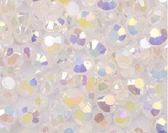 4mm -- 500 pcs AB Jelly Resin Flatback Rhinestones -- White