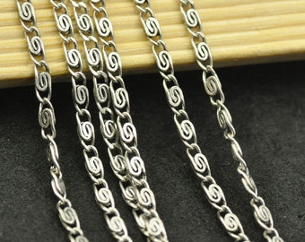 16ft of Antique Silver Necklace Chains/ Jewelry /Links /Flat Oval Chains 2.5mm
